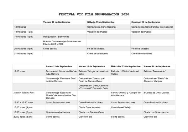 Programación del tercer festival VIC FILM 2020