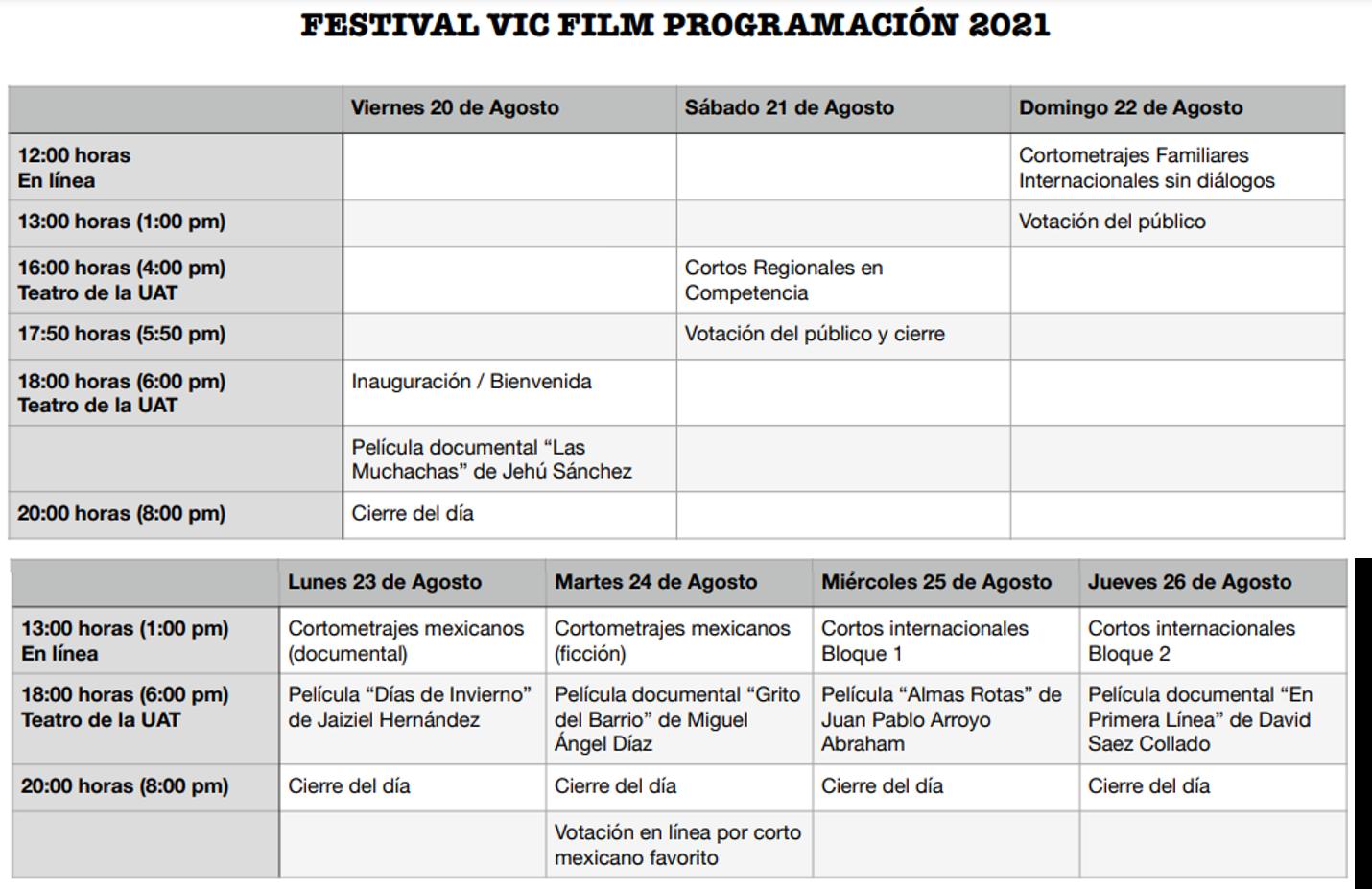 Programación del cuarto festival VIC FILM 2021